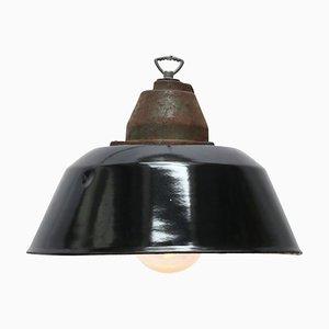 Lampe à Suspension Industrielle Vintage en Émail Noir, Fonte & Verre