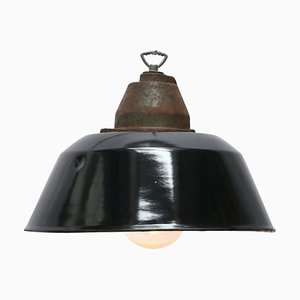 Vintage Industrial Black Enamel, Cast Iron & Glass Pendant Light