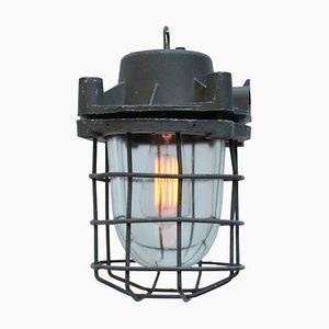 Lampe à Suspension Industrielle Vintage en Métal Gris et Verre