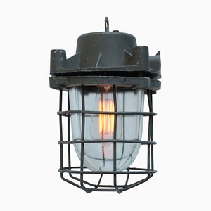 Vintage Industrial Grey Metal & Glass Pendant Light