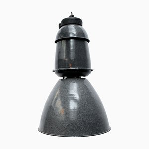 Large Vintage Industrial Grey Enamel Train Station Pendant Light