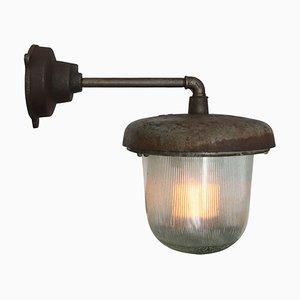 Lampada da parete vintage industriale in ghisa e vetro di Holophane