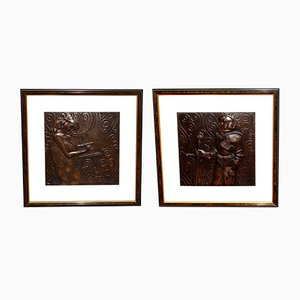 Copper Reliefs by Georg Klimt, 1903, Set of 2
