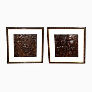 Reliefs aus Kupfer von Georg Klimt, 1903, 2er Set