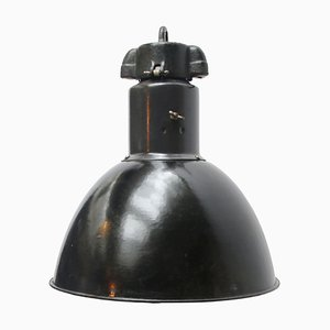 Vintage Industrial Black Enamel Pendant Light, 1930s
