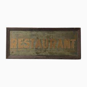 Cartel de restaurante industrial vintage de madera pintada, años 30