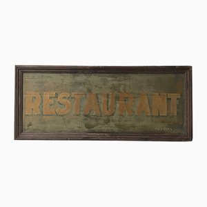 Vintage Industrial Painted Wood Restaurant Sign, 1930s