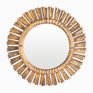 Vintage Spiegel mit Rahmen aus Holz in Sonnen-Optik