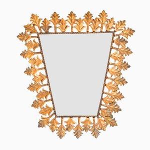 Trapezförmiger Vintage Spiegel mit goldenem Metallrahmen
