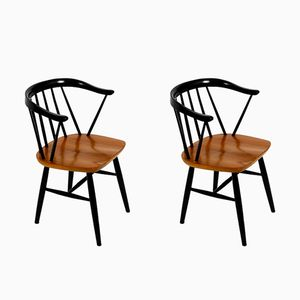 Mid-Century Solid Wood Armchairs with Teak Seats, Set of 2
