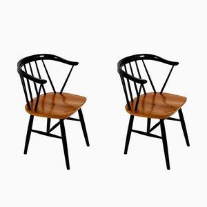Mid-Century Stühle aus Massivholz mit Sitz aus Teak, 2er Set