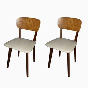 Chaises de Salon en Bois et Skaï, 1960s, Set de 2