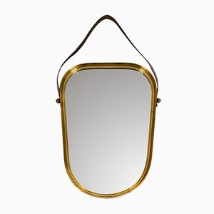 Mid-Century Modern Heavy Brass Wall Mirror with Wide Leather Strap