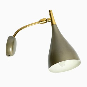 Mid-Century Wall Lamp with Glossy Lacquer and Brass Neck by Louis Kalff for Philips