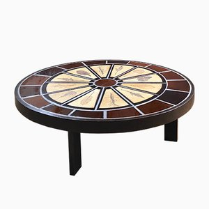 Table Basse Vintage Ovale par Roger Capron