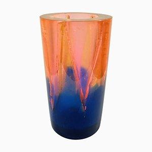 Orange-blaue Vintage Vase aus Harz von Steve Zoller