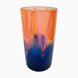 Vintage Orange and Blue Resin Vase by Steve Zoller