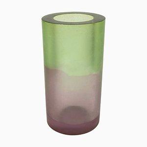 Vase Vintage en Résine Verte et Violette par Steve Zoller