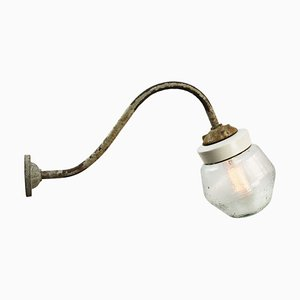 Vintage Industrial Frosted Glass, White Porcelain & Cast Iron Wall Light