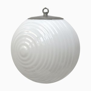 Bauhaus Style Ribbed Opaline Glass & Metal Pendant Light, 1950s