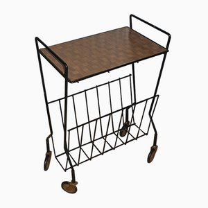 Formica Serving Bar Cart with Newspaper Rack, 1960s