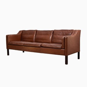 Brown Leather Three-Seater Sofa, 1960s