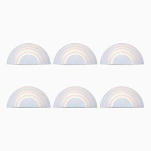 Weiße Wandlampen in Mäander-Optik von Cesare Casati & Emanuele Ponzio für Raak, 1970er, 6er Set