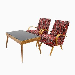 Poltrone con tavolino di Jaroslav Smidek per TON, anni '60, set di 3