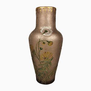 Frosted & Enamelled Glass Montjoye Vase from Legras, 1920s
