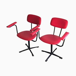 Red & Black Desk Chairs, 1960s, Set of 2