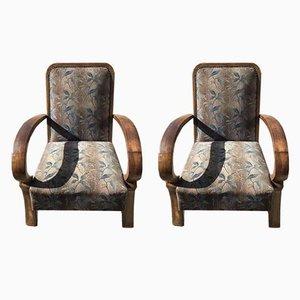 Art Deco Sessel mit Gestell aus Nussholz, 1930er, 2er Set