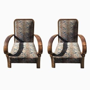 Art Deco Walnut Armchairs, 1930s, Set of 2