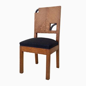 Art Deco French Oak Chair, 1930s