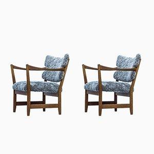 Norwegische Kaminstolen Sessel mit Schafsfellbezug von Fredrik Kayser & Adolf Relling für Dokka Møbler, 1950er, 2er Set