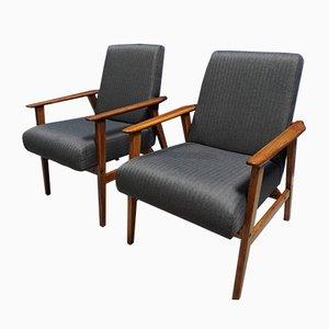 Mid-Century Sessel mit kohlegrauem Tweedbezug, 1960er, 2er Set