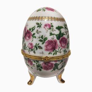 Portagioie a forma di uovo in porcellana e bronzo dorato, anni '80