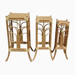 Tavolini ad incastro in vimini e bambù, anni '80