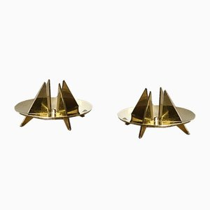 Nr. 20 Skulpturale Kerzenhalter von Pierre Forsell für Skultuna, 1960er, 2er Set