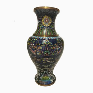 Chinoserie Ceramic, Glass & Brass Vase, 1930s