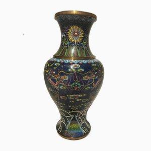 Jarrón Chinoserie de cerámica, vidrio y latón, años 30