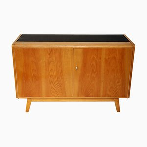 Small Wood and Black Glass Sideboard by Bohumil Landsman for Jitona, 1965