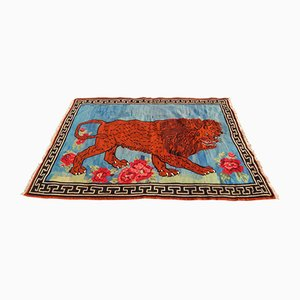 Bildhafter Vintage Gabbeh Kelim Teppich mit Löwen-Motiv