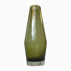 Jarrón Mid-Century de vidrio verde de Tamara Aladin para Riihimaen Lasi Oy, años 70