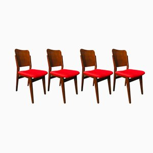 Polish Veneered Chairs, 1950s, Set of 4