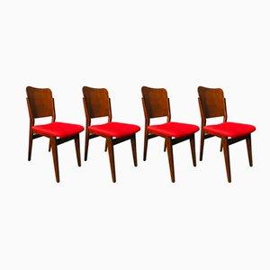 Polnische Stühle aus Nussholzfurnier, 1950er, 4er Set