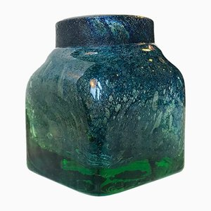 Green & Blue Murano Glass Vase from Venini, 1950s