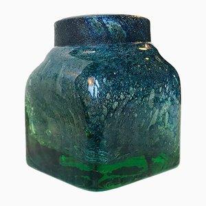Jarrón de cristal de Murano verde y azul de Venini, años 50