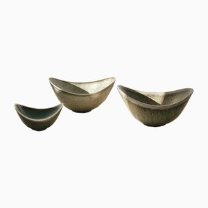 Grey Biomorphic ARO Stoneware Bowl Set by Gunnar Nylund for Rörstrand, 1950s