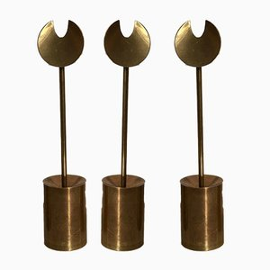 Brass Iniara Candleholders by Pierre Forsell for Skultuna, 1960s, Set of 3