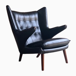 Black Leather Model AP19 Papa Bear Lounge Chair by Hans Wegner, 1963